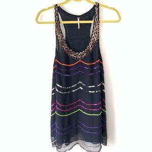 Free People Navy Multicolor Sequin Top Size Small